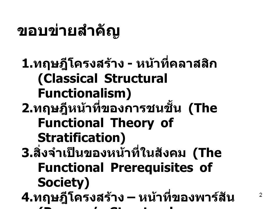 ขอบข่ายสำคัญ 1.ทฤษฎีโครงสร้าง - หน้าที่คลาสสิก (Classical Structural Functionalism)