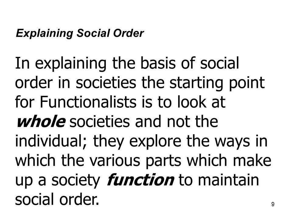 Explaining Social Order