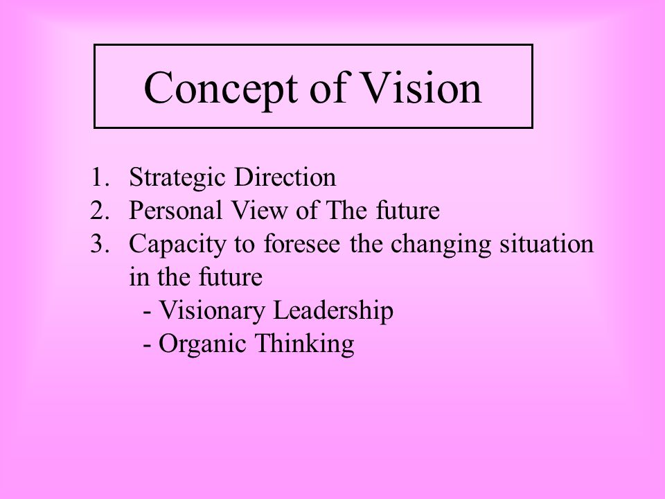 Concept of Vision Strategic Direction Personal View of The future