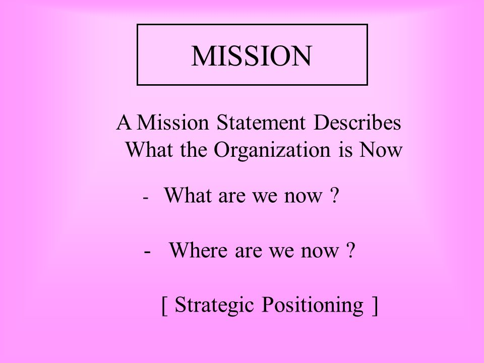MISSION What the Organization is Now - Where are we now