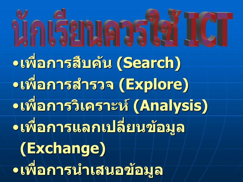 เพื่อการสืบค้น (Search) เพื่อการสำรวจ (Explore)