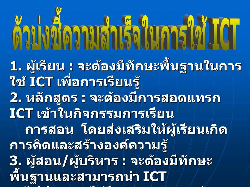 ตัวบ่งชี้ความสำเร็จในการใช้ ICT