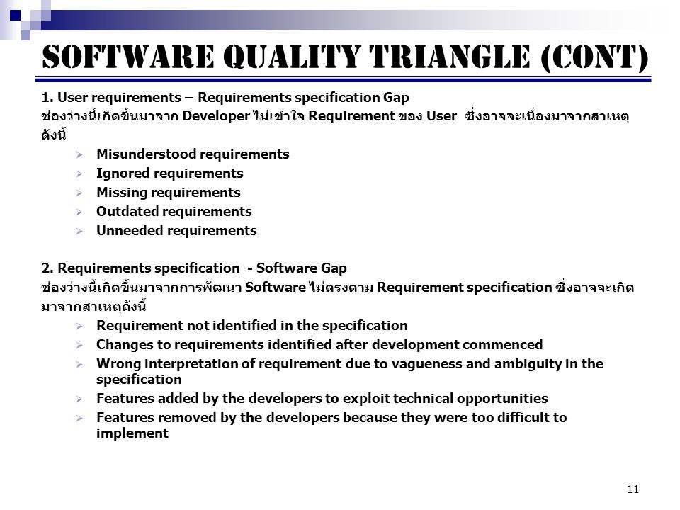 Software quality triangle (cont)
