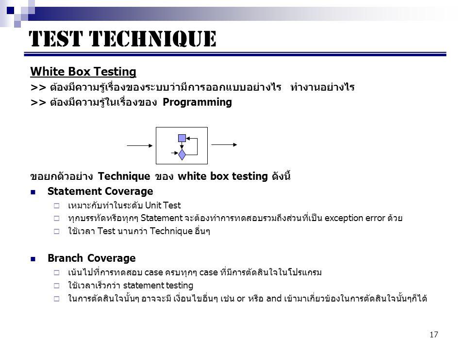 TEST TECHNIQUE White Box Testing