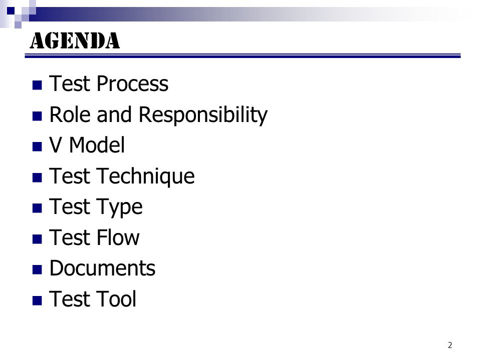 AGENDA Test Process Role and Responsibility V Model Test Technique