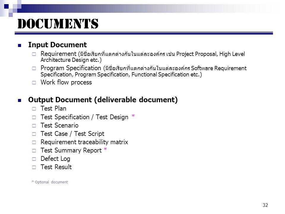 Documents Input Document Output Document (deliverable document)