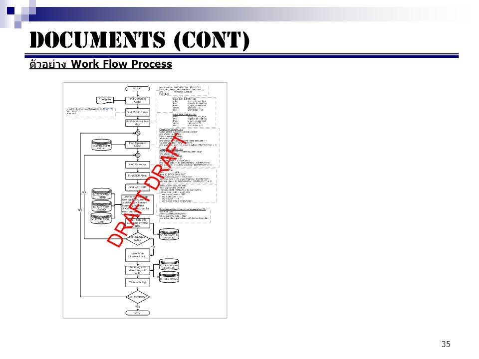 Documents (cont) ตัวอย่าง Work Flow Process