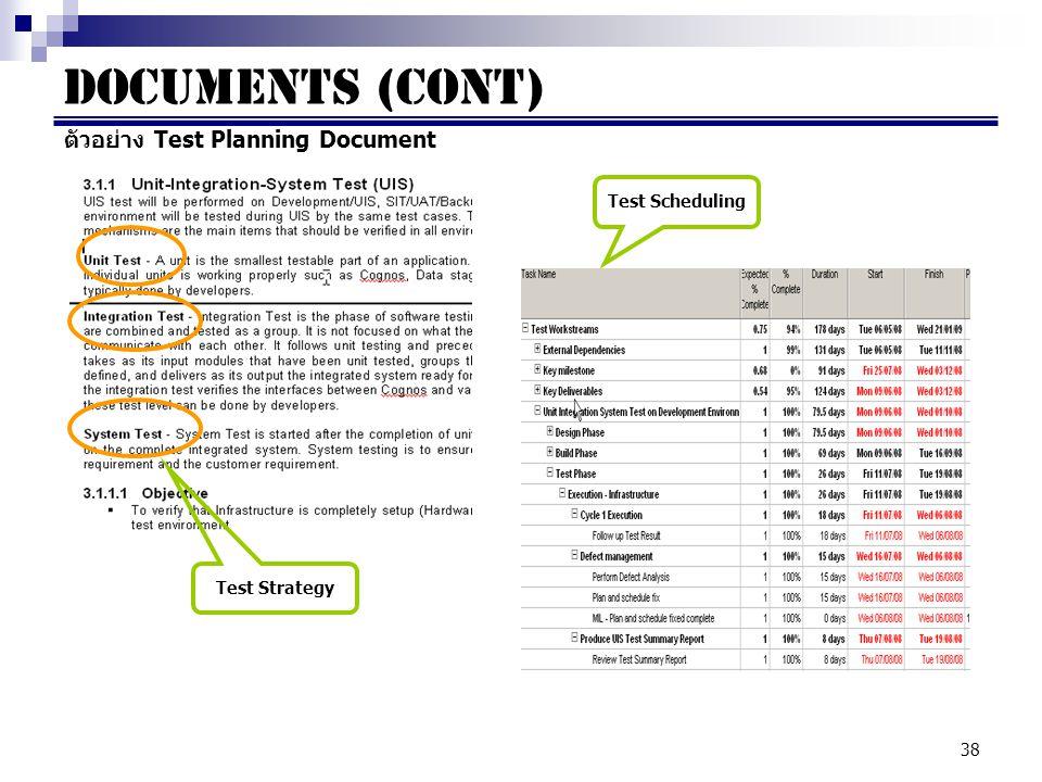 Documents (cont) ตัวอย่าง Test Planning Document Test Scheduling