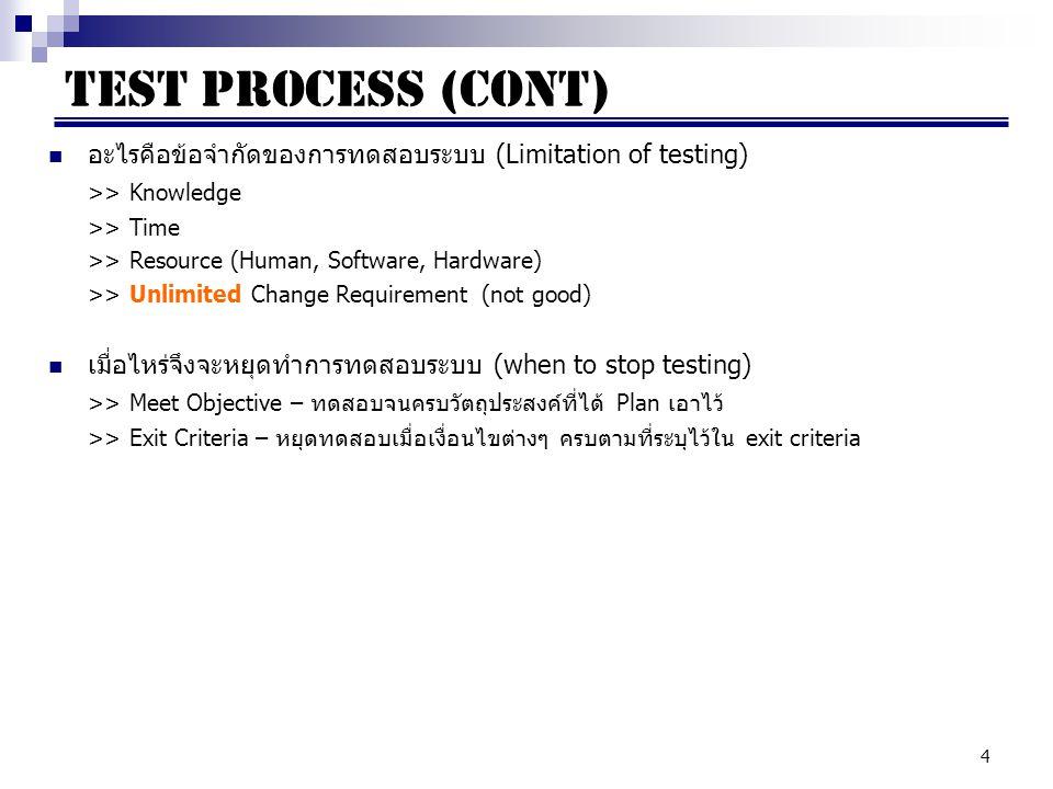 TEST PROCESS (CONT) อะไรคือข้อจำกัดของการทดสอบระบบ (Limitation of testing) >> Knowledge. >> Time.