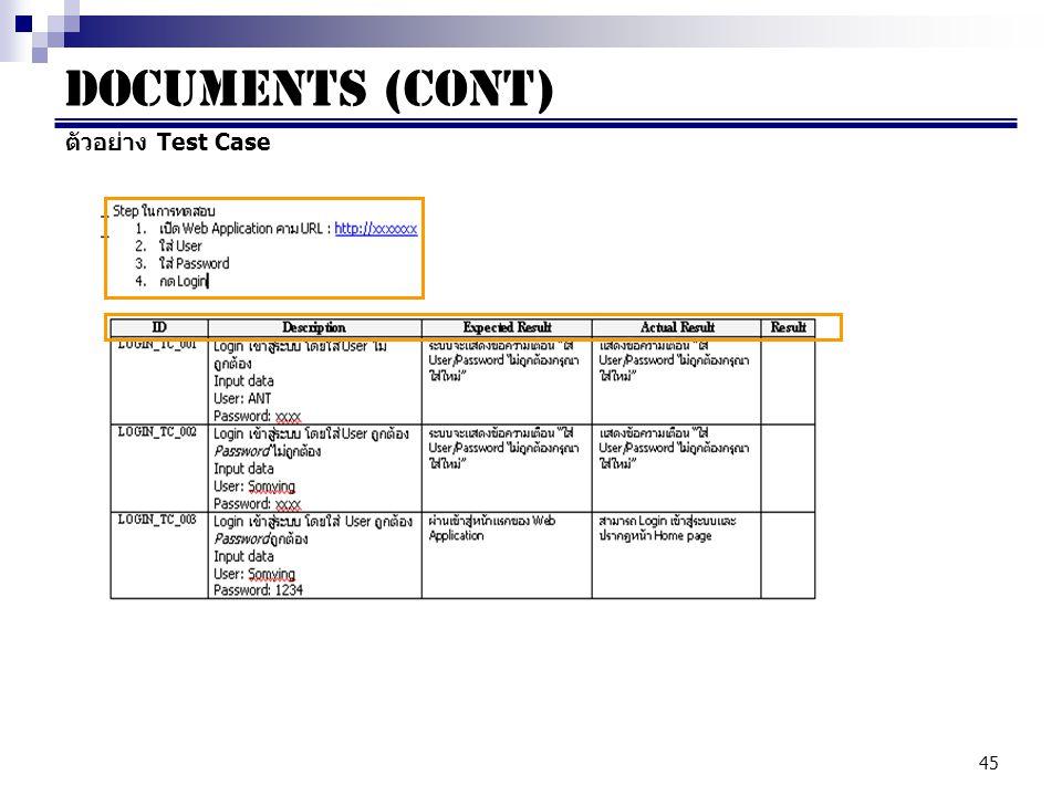 Documents (cont) ตัวอย่าง Test Case
