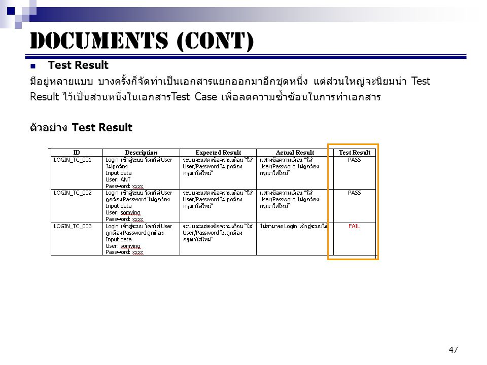 Documents (cont) Test Result