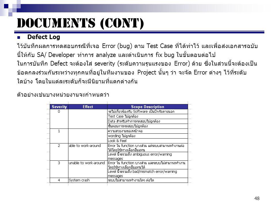 Documents (cont) Defect Log