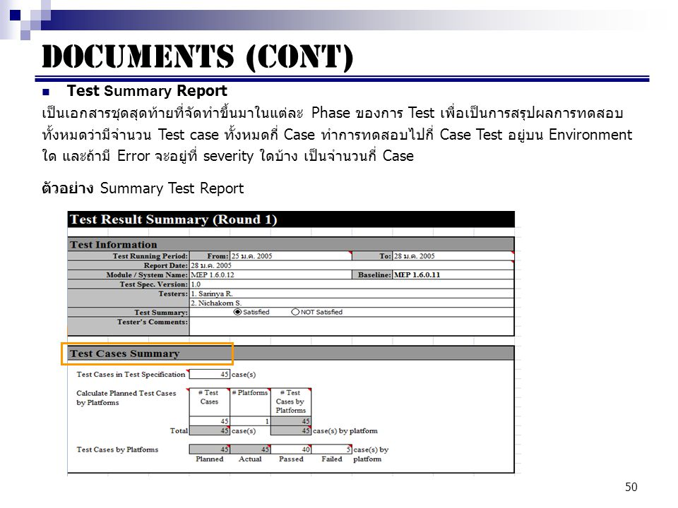 Documents (cont) Test Summary Report
