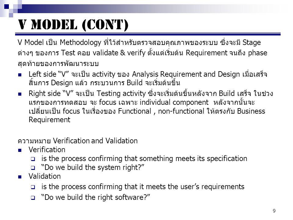V MODEL (CONT) V Model เป็น Methodology ที่ไว้สำหรับตรวจสอบคุณภาพของระบบ ซึ่งจะมี Stage.