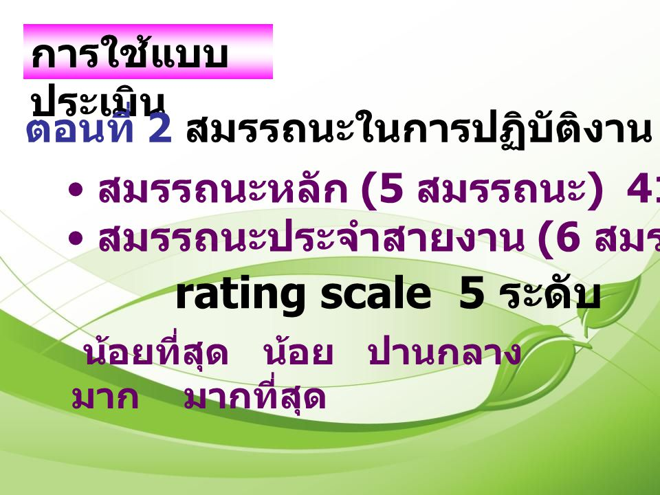 rating scale 5 ระดับ การใช้แบบประเมิน
