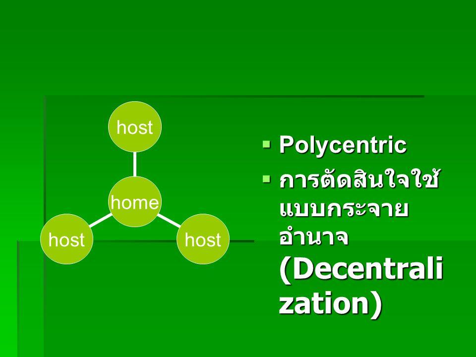 Polycentric การตัดสินใจใช้แบบกระจายอำนาจ (Decentralization)