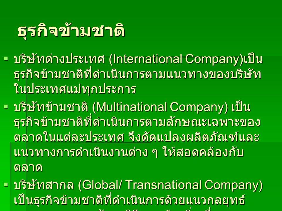 ธุรกิจข้ามชาติ บริษัทต่างประเทศ (International Company)เป็นธุรกิจข้ามชาติที่ดำเนินการตามแนวทางของบริษัทในประเทศแม่ทุกประการ.