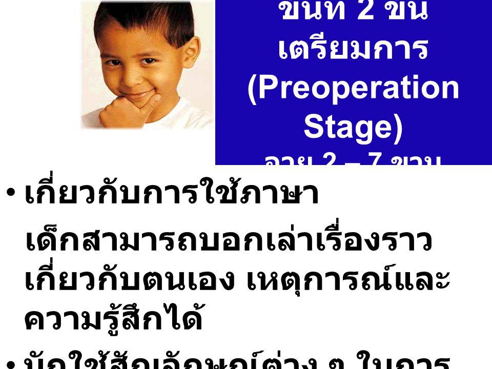 ขั้นที่ 2 ขั้นเตรียมการ (Preoperation Stage) อายุ 2 – 7 ขวบ