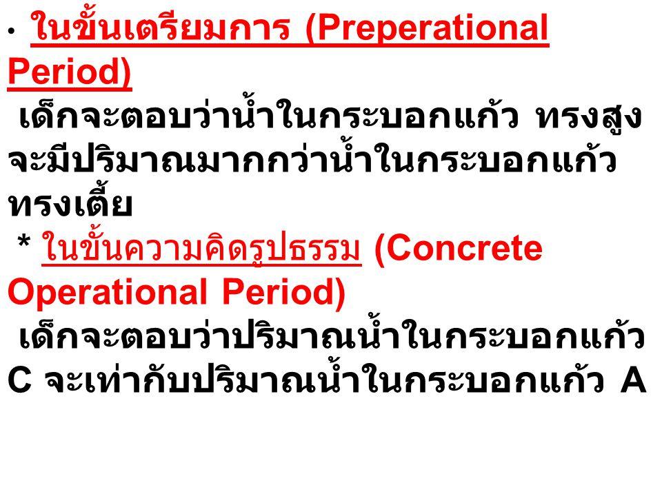 ในขั้นเตรียมการ (Preperational Period) เด็กจะตอบว่าน้ำในกระบอกแก้ว ทรงสูงจะมีปริมาณมากกว่าน้ำในกระบอกแก้วทรงเตี้ย * ในขั้นความคิดรูปธรรม (Concrete Operational Period) เด็กจะตอบว่าปริมาณน้ำในกระบอกแก้ว C จะเท่ากับปริมาณน้ำในกระบอกแก้ว A