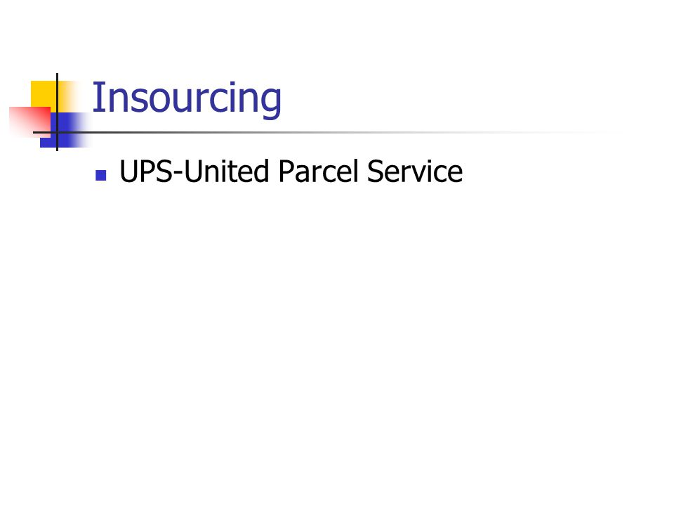 Insourcing UPS-United Parcel Service