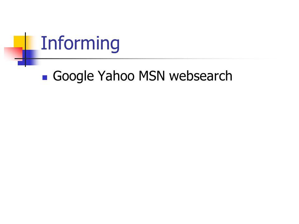 Informing Google Yahoo MSN websearch