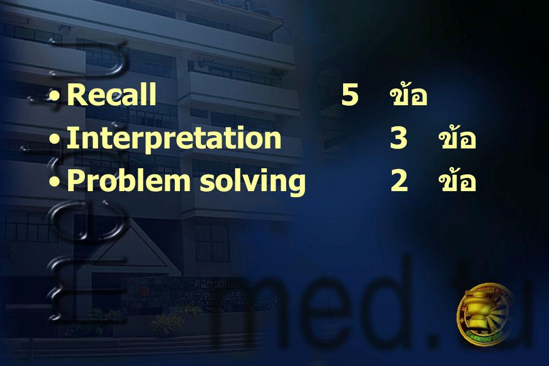 Recall 5 ข้อ Interpretation 3 ข้อ Problem solving 2 ข้อ