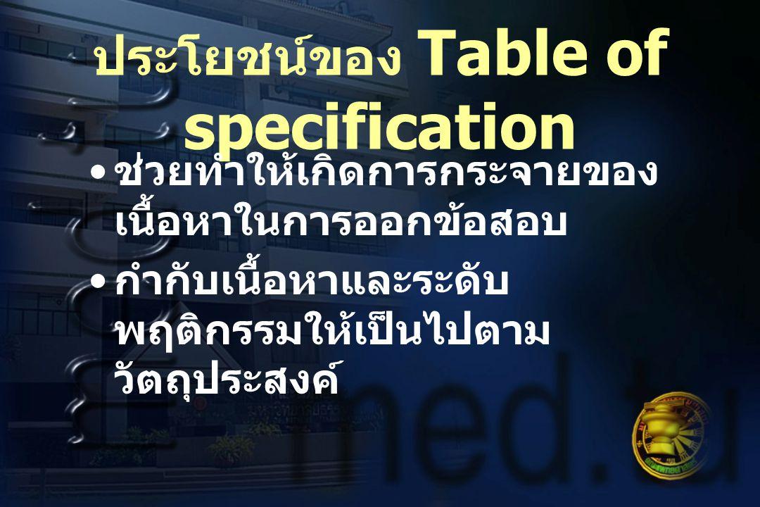 ประโยชน์ของ Table of specification