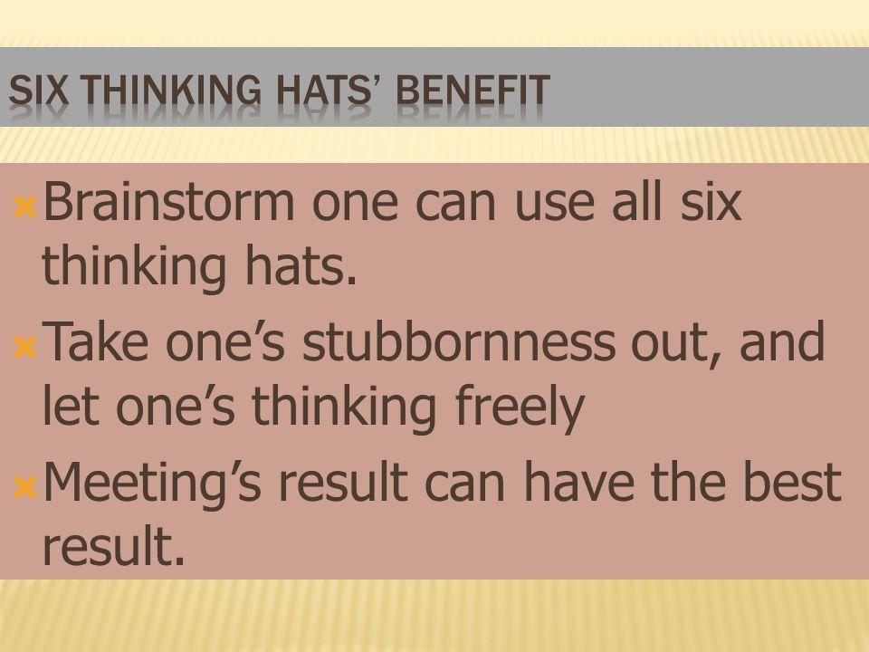 Six Thinking hats' benefit