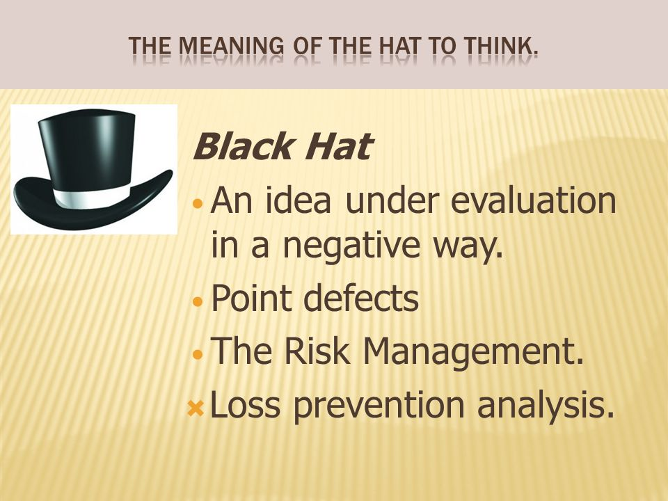 The meaning of the hat to think.