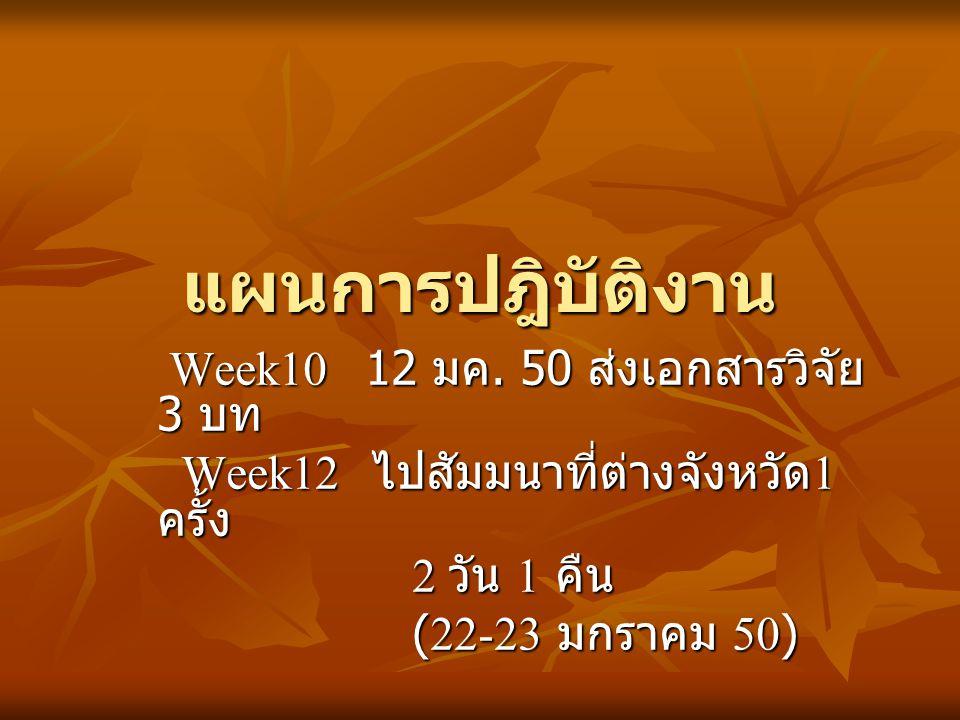 แผนการปฎิบัติงาน Week10 12 มค. 50 ส่งเอกสารวิจัย 3 บท