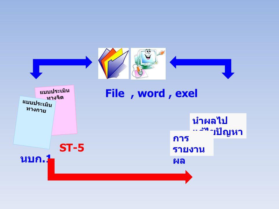 File , word , exel ST-5 นบก.1 นำผลไปแก้ไขปัญหา การรายงานผล