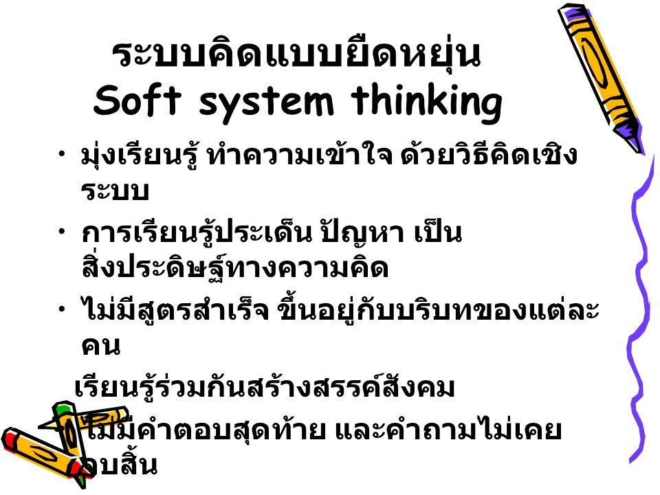 ระบบคิดแบบยืดหยุ่น Soft system thinking