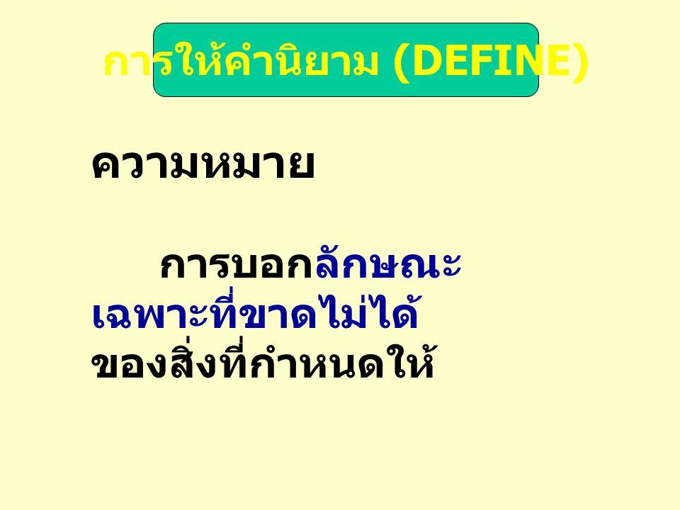 การให้คำนิยาม (DEFINE)