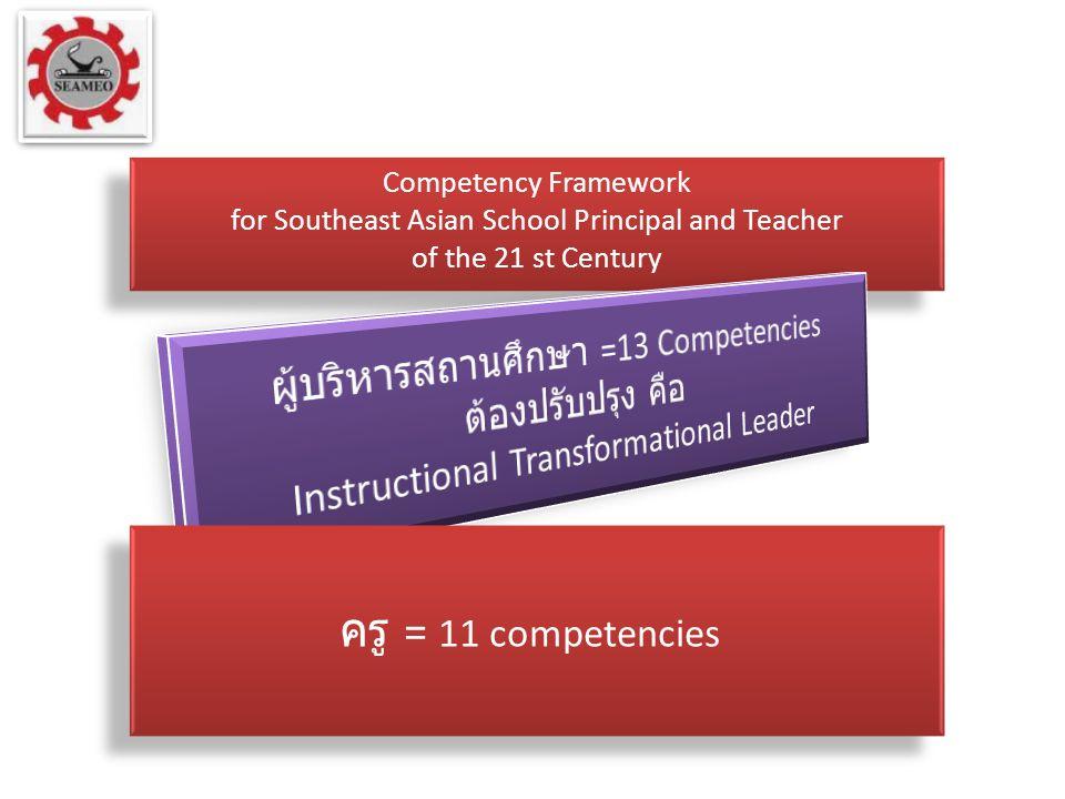ครู = 11 competencies ผู้บริหารสถานศึกษา =13 Competencies