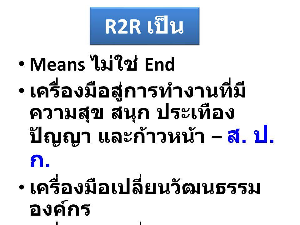 R2R เป็น Means ไม่ใช่ End