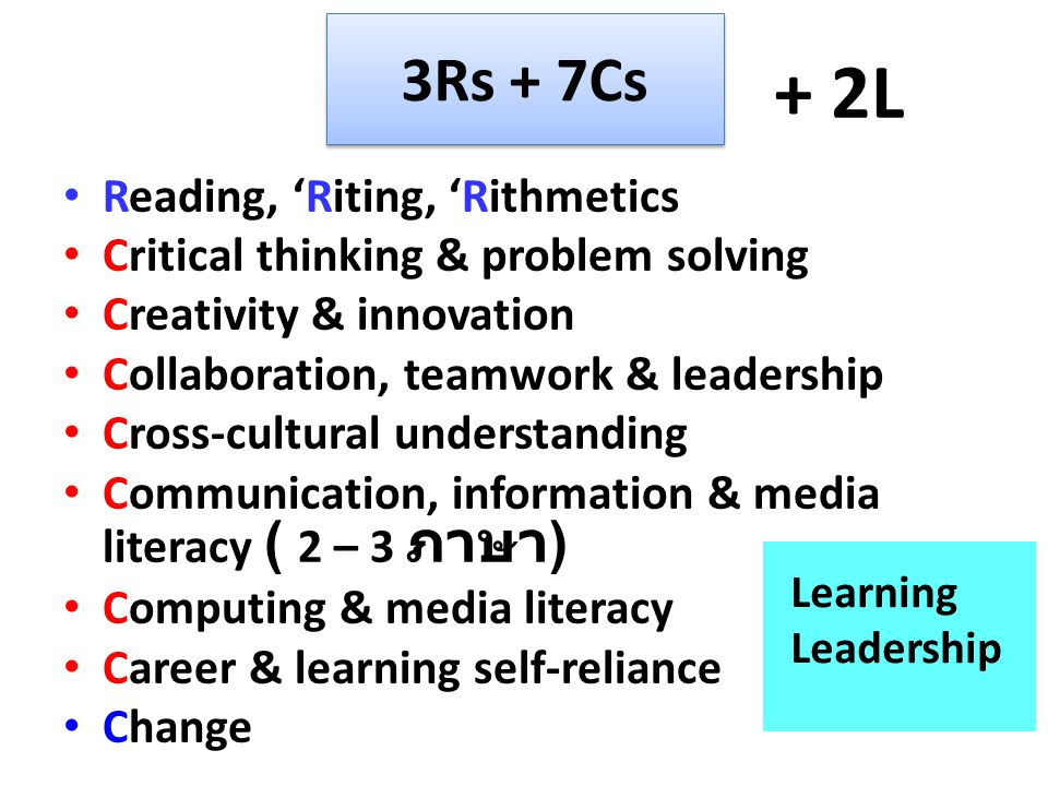 + 2L 3Rs + 7Cs Reading, 'Riting, 'Rithmetics