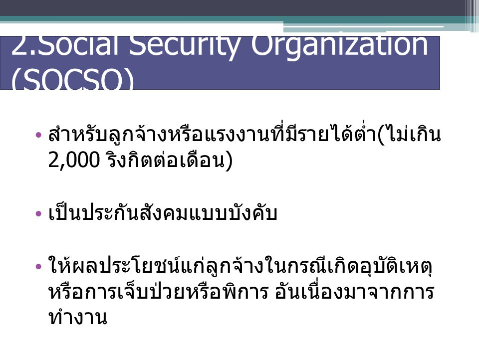 2.Social Security Organization (SOCSO)