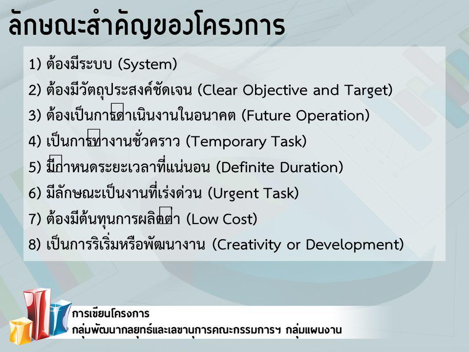 2) ต้องมีวัตถุประสงค์ชัดเจน (Clear Objective and Target)
