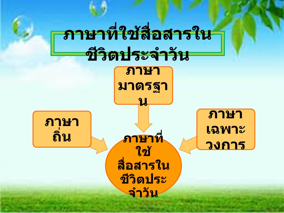 ภาษาที่ใช้สื่อสารในชีวิตประจำวัน