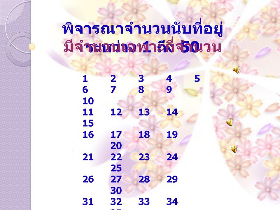 พิจารณาจำนวนนับที่อยู่ระหว่าง 1 ถึง 50 มีจำนวนเฉพาะกี่จำนวน