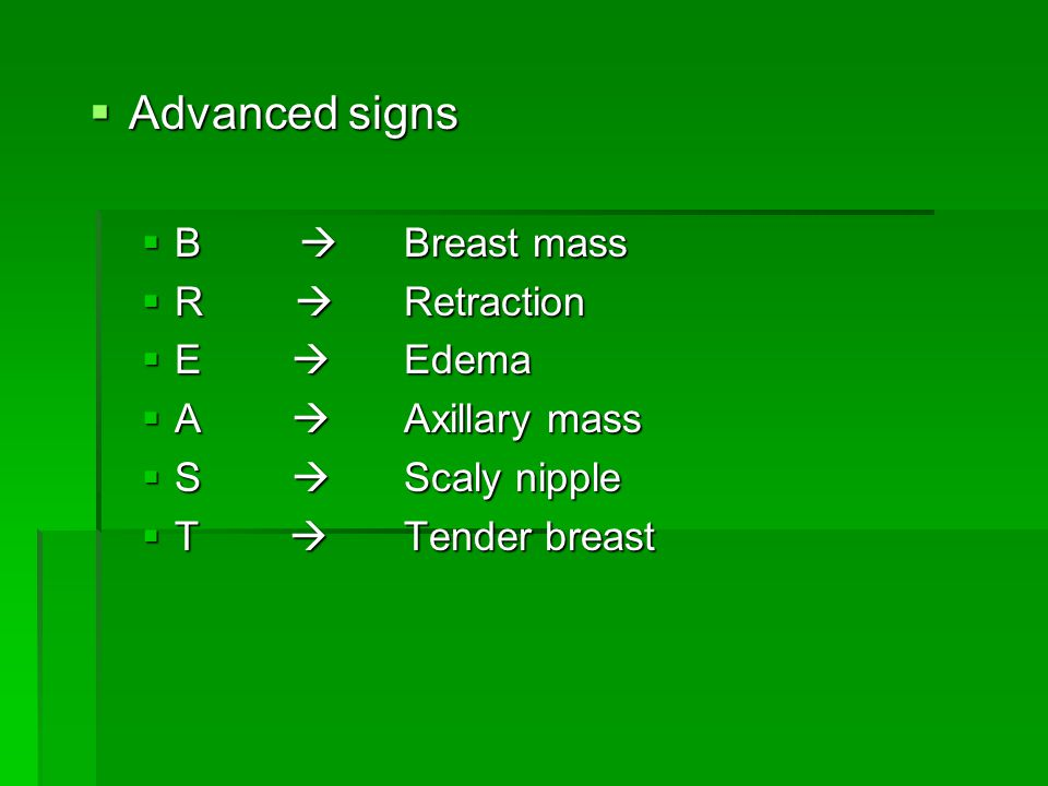 Advanced signs B  Breast mass R  Retraction E  Edema