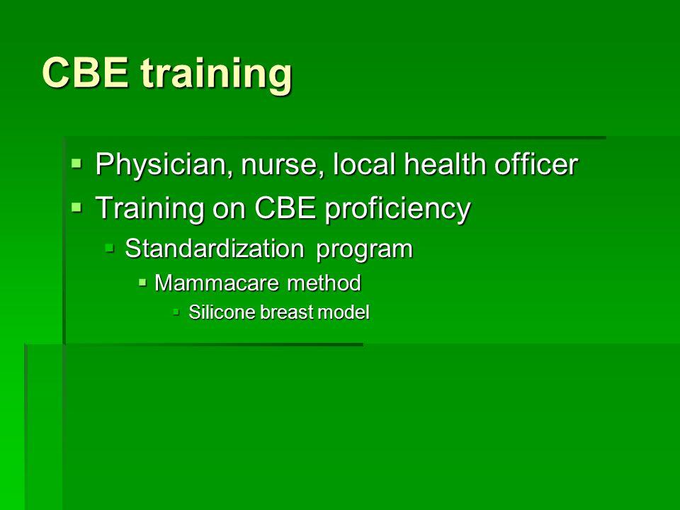 CBE training Physician, nurse, local health officer
