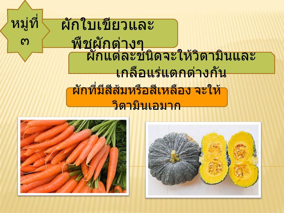 ผักใบเขียวและพืชผักต่างๆ