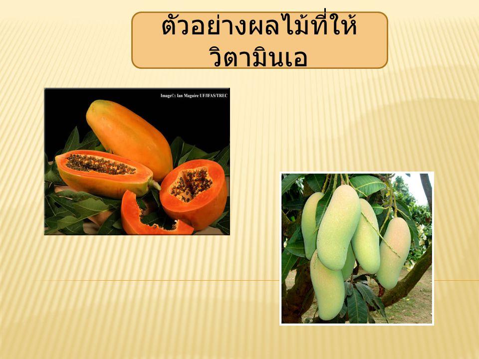 ตัวอย่างผลไม้ที่ให้วิตามินเอ