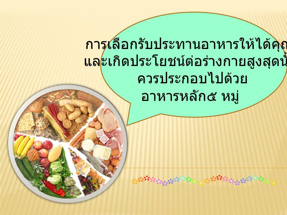 การเลือกรับประทานอาหารให้ได้คุณค่า และเกิดประโยชน์ต่อร่างกายสูงสุดนั้น