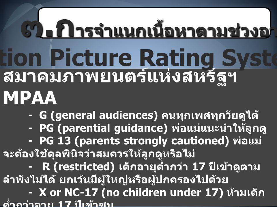๓.การจำแนกเนื้อหาตามช่วงอายุ Motion Picture Rating System