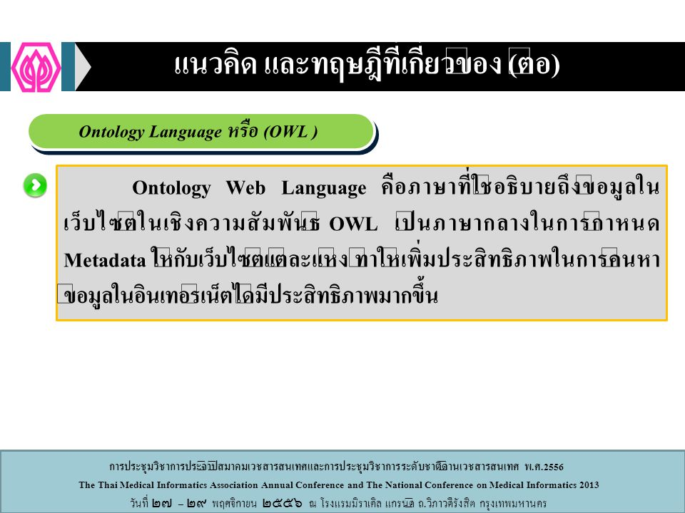 แนวคิด และทฤษฎีที่เกี่ยวข้อง (ต่อ) Ontology Language หรือ (OWL )