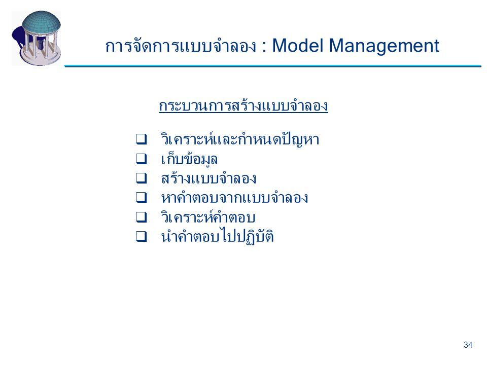 การจัดการแบบจำลอง : Model Management