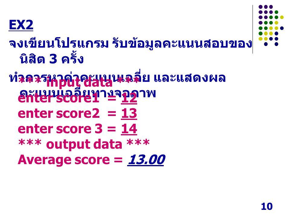 EX2 จงเขียนโปรแกรม รับข้อมูลคะแนนสอบของนิสิต 3 ครั้ง. ทำการหาค่าคะแนนเฉลี่ย และแสดงผลคะแนนเฉลี่ยทางจอภาพ.