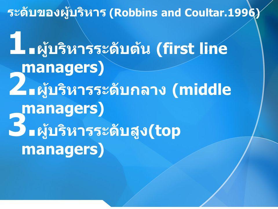 ระดับของผู้บริหาร (Robbins and Coultar.1996)